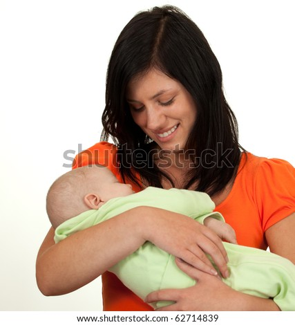 cute 2 month baby boy with mother - stock photo