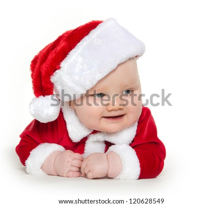 Cute 7-month-old baby boy in red Santa Claus outfit on white background