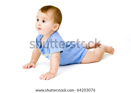 Cute 6 Month Old Baby Girl Isolated on White Background.