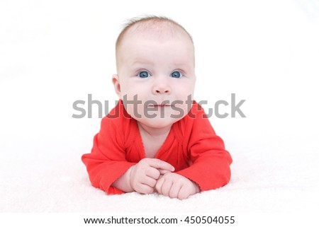 Cute 3 months baby girl in red bodysuit on white background