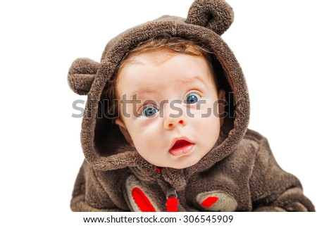 Cute 2 months old baby boy isolated on white. - stock photo