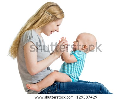 cute mother and baby having fun - stock photo