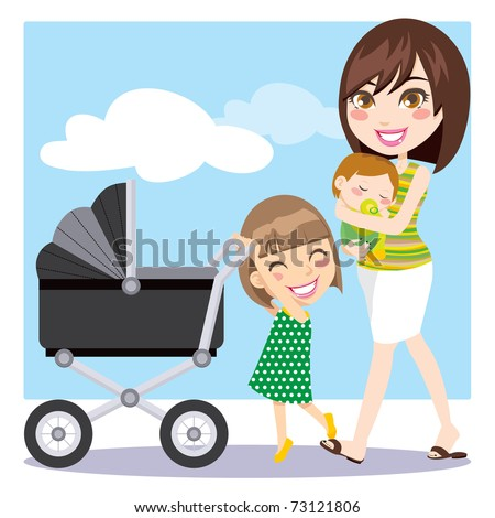 Cute mother walking with son on her arms while daughter is pushing a baby carriage - stock photo
