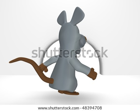 cute mouse in hole - stock photo