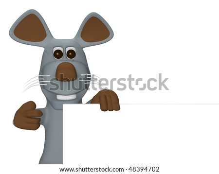 cute mouse with card for text - stock photo