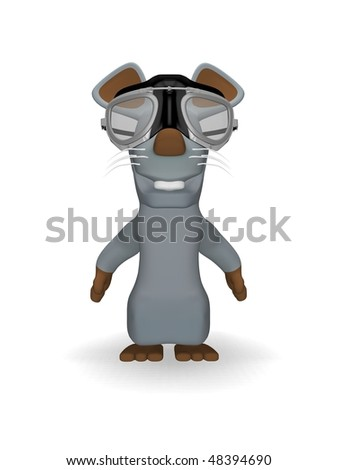 cute mouse with pilot goggles