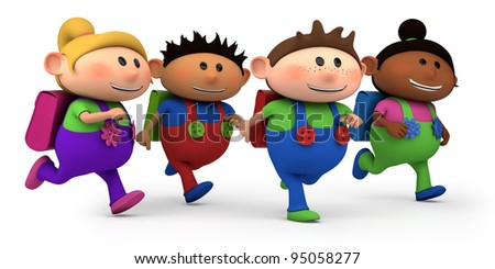 cute multi-ethnic kids running - way to school - high quality 3d illustration - stock photo