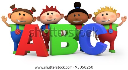 cute multi-ethnic kids with ABC letters - high quality 3d illustration - stock photo