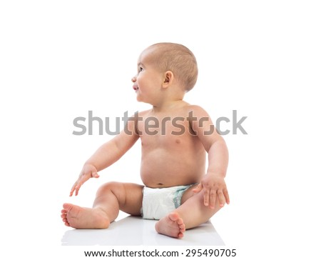 Cute naked baby child looking up isolated - stock photo