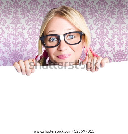 Cute Nerd Business Woman Holding A Blank Banner Board With Advertising Copyspace
