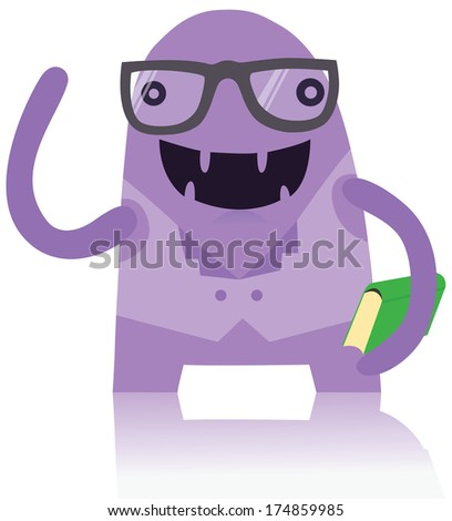 Cute Nerdy Monster with a Book - stock photo