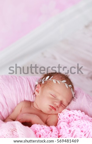 Cute new born baby girl sleeping