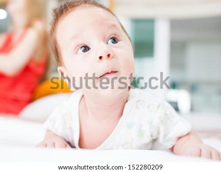 Cute newborn baby - stock photo