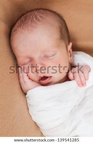 cute newborn baby boy sleeping - stock photo