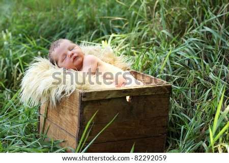 Cute newborn baby in a box, outdoor photo - stock photo