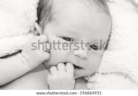 cute newborn baby lying on a blanket with his eyes open   ( black-white ) - stock photo