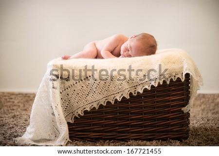 Cute newborn baby portrait. Ten days after birth. - stock photo