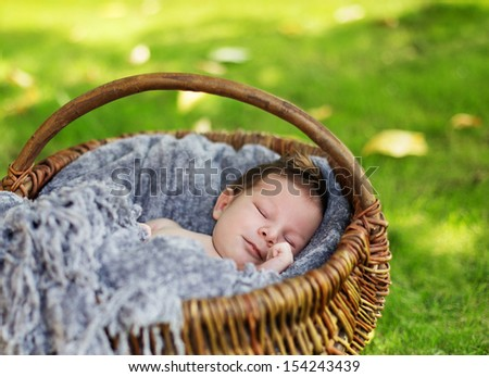 Cute newborn baby sleeping in basket outdoor - stock photo