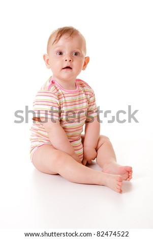 Cute nine months old caucasian baby girl isolated.