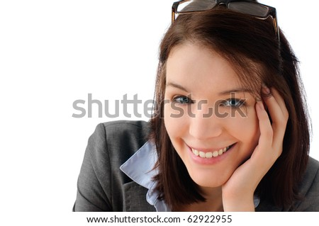 Cute office girl - stock photo