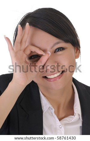 Cute office lady with funny face by put hands on one eye, closeup portrait on white background.