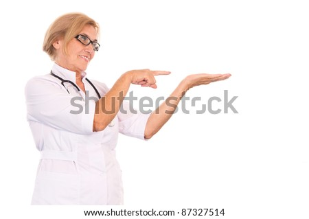 cute old doctor posing on a white