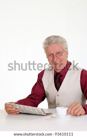 cute old man with paper and cup