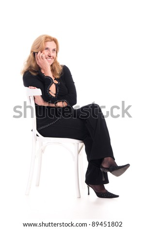 Cute old woman sitting chair on stock photo 90839024 for Cute white chair