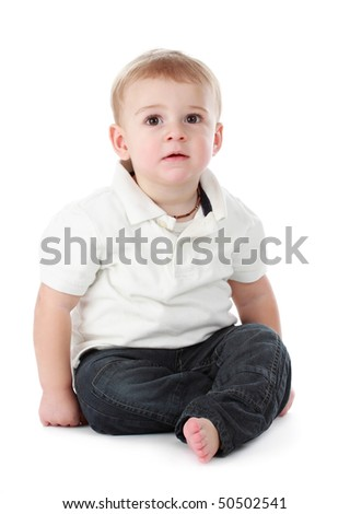 cute one year baby boy isolated on white