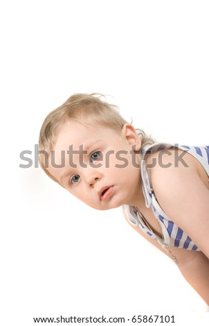 cute one year old boy studio portrait - stock photo