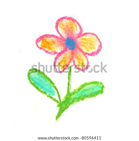 cute orange and red flower hand drown on white - stock photo