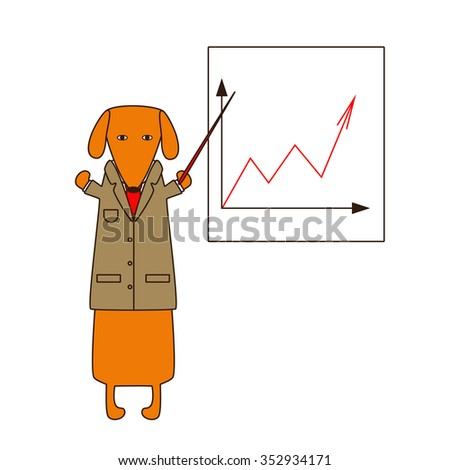 Cute orange colored brown contoured dachshund in beige jacket, white shirt and red tie standing on hind legs with dissolved forelegs, holding red pointer, white board with graphic behind him - stock photo