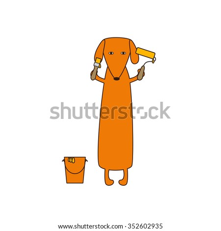 Cute orange colored brown contoured dachshund standing on hind legs with dissolved forelegs, holding paint brush and roller, paint bucket near it. Flat style illustration - stock photo