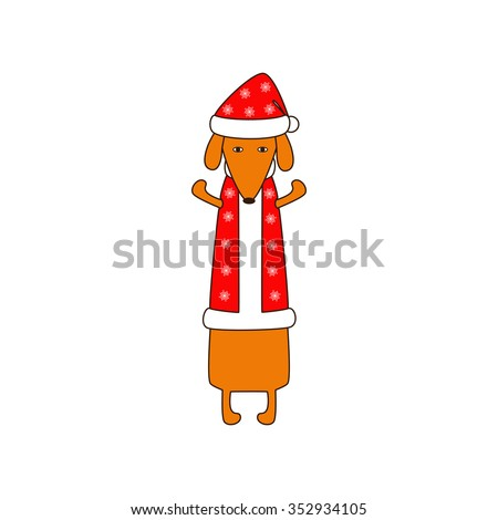 Cute orange colored brown contoured dachshund standing on hind legs with dissolved forelegs in Christmas suit, red coat and hat decorated with snowflakes. Flat style illustration - stock photo
