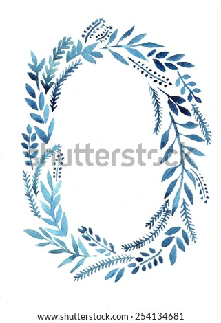 cute oval watercolor illustration with floral frame