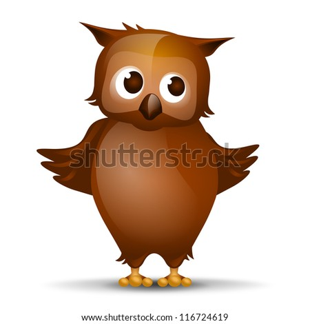 "Cute Owl - Cartoon Owl  - A kind and gentle owl with brown ""puppy eyes"" - stock photo"