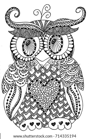Cute Owl Doodle Art Coloring Page Stock Illustration 714335194 ...