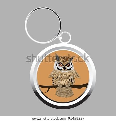 Cute owl key-chain - stock photo