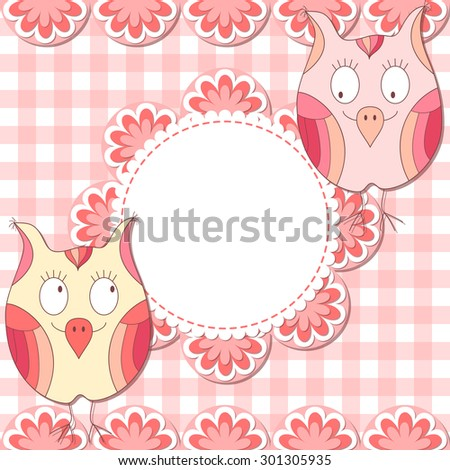Cute  owl photo frame. Baby shower card. Scrapbook page. - stock photo