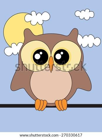 Cute Owl Sun And Clouds Wallpaper