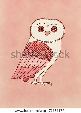 Cute Owl Symbol Athena Goddess Athens Stock Illustration
