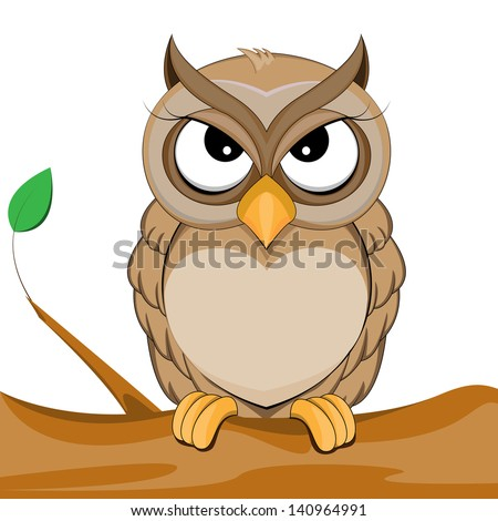 cute owl vector of illustration - stock photo
