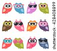 Cute owlets and owls with sunglasses. Raster version - stock photo