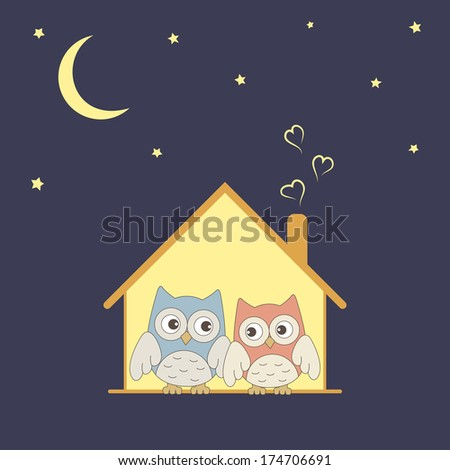 Cute owls couple in their cozy nest under stars - stock photo