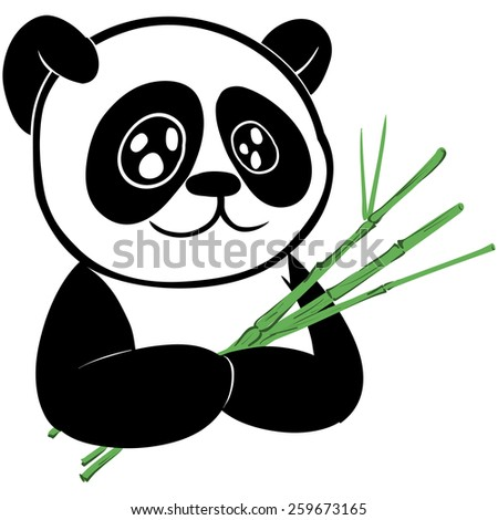 Cute panda bear with branch of bamboo - stock photo
