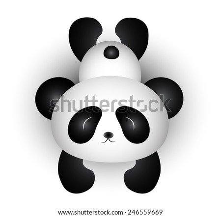 Cute Panda Cartoon - stock photo
