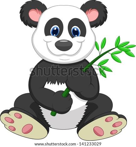 Cute panda cartoon eating bamboo - stock photo