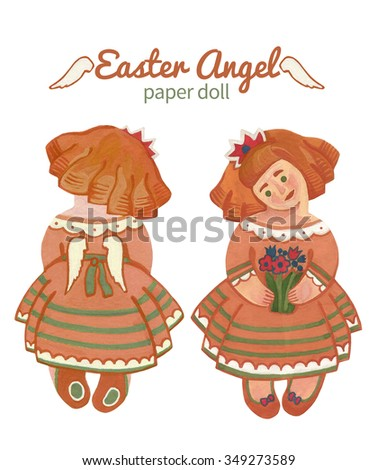 Cute paper doll redhead angel girl with a bouquet of Easter greetings - stock photo