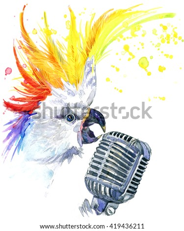 Cute parrot. Watercolor parrot. Cool DJ. Microphone. Singer. Parrot T-shirt design. Music background. - stock photo