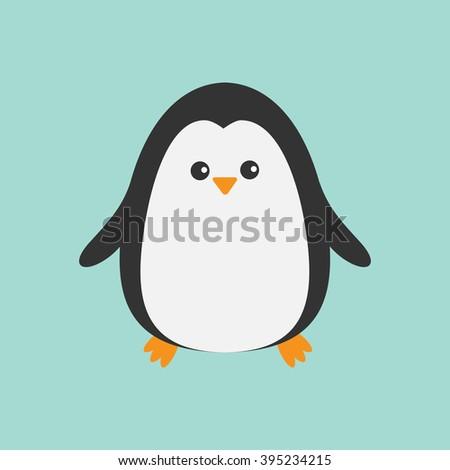 Cute penguin. Cartoon character. Arctic animal collection.  Baby bird. Flat design  - stock photo